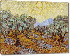 Ван Гог. Оливковые деревья под жёлтым небом и ноябрьским солнцем