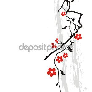 Фон с красным цветком