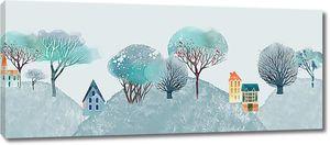 Деревья с миниатюрами домов