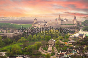 Dramatic view on the castle in Kamianets-Podilskyi
