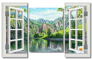 Горное озеро в окне