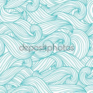 Бесшовные абстрактный узор вектор с волнами и облако.