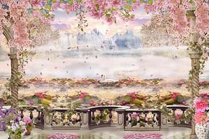 Прекрасная веранда с розовыми цветами