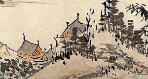 Рисунок. Деревенька в горах