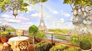 Вид из кафе на Эйфелеву башню