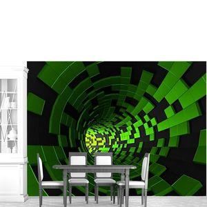 Абстрактные 3d-рендеринга футуристический туннель зеленый