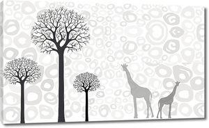 Жирафы у деревьев