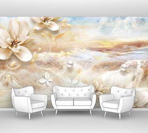 Мраморный фон, бежевые цветы
