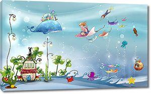 Дети катаются на морских животных