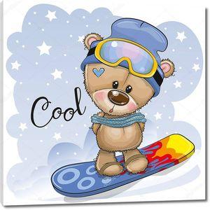 Медвежонок на сноуборде на синем фоне