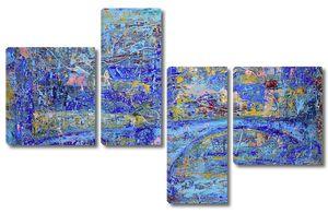 Абстрактная живопись с синим мостом
