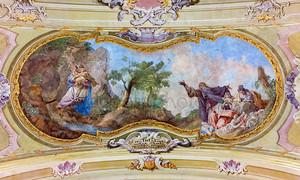 Ясов - 2 января: фреска убежище Святого Иоанна Крестителя на массовое убийство невинных людей, j, l, кракера (1752-1776) барокко потолку из обители в Ясов на 2 января 2014 года в Ясов, Словакия