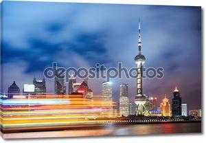 Красивая Ночная точка зрения в Шанхай