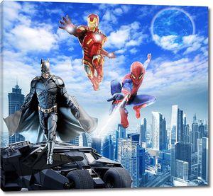 Супергерои, бетмен, спайдермен и железный человек