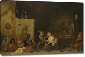 Тенрис Давид (Младший). Старый крестьянин и кухарка в сарае