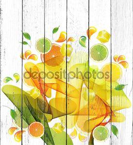 выплеск сока апельсина, лимона и Лайма