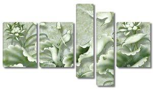 Мраморный фон, светло-зеленые лотосы
