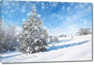 Зимний фон с ель