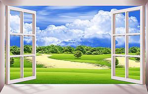 Зеленый простор за окном