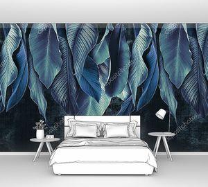 Синие тропические листья