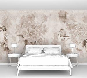 Сепия пионы написанные на бетонной стене