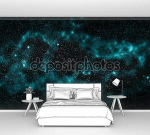 Галактика, бирюзовый звезды туманности, космический фон