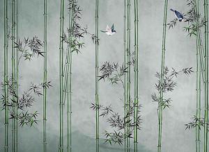Стебли бамбука с птицами