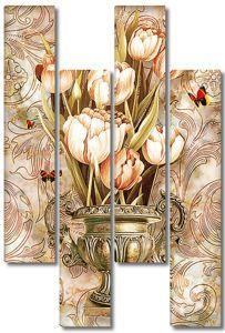 Букет тюльпанов в медной вазе