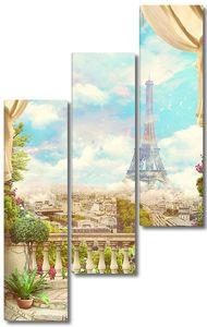 Вид с балкона со шторами на Париж и Эйфелеву башню. Цифровой коллаж, фреска и фреска. Обои. Плакат дизайн. Модульная панно.