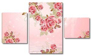 Нежный розовый фон, вода, красивые большие розовые розы