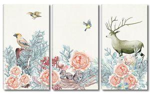 Олень с птицами в розах