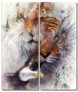 Тигр с орлом и декоративных мандалы. Дикие животные на фоне живописи, контакт глаз