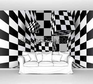 Летающие кубов в комнате клетчатый