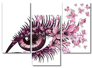Красивый женский глаз с бабочками
