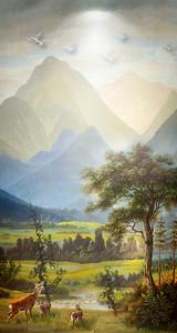 Олени в горной долине