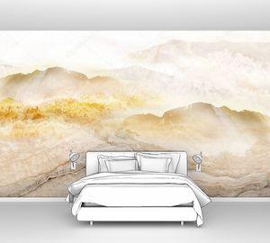 Абстрактная пейзажная иллюстрация, бежевые мраморные горы в тумане