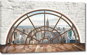 Вид на город сквозь полукруглое окно