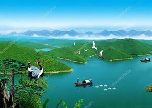 Пейзаж,  озера и холмы, рыбаки в лодках