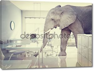 Слон в комнате в винтажном стиле