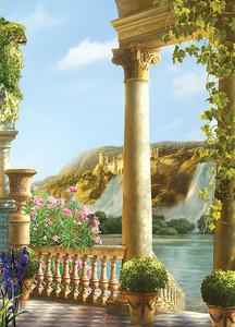 Сказочный вид с террасы на водопад