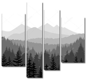 Сосновый лес и горы обои вектор