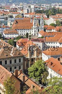 Грац города осенью воздушные городского пейзажа, Австрия.