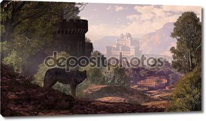 Castle And Wolf In The Woods