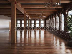 Пустая комната Интерьер на жительство или офисных помещений с деревенском древесины и деревянных полов