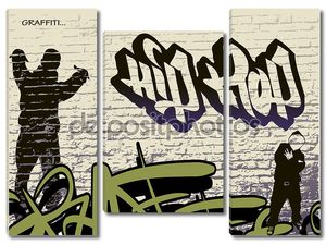 Graffiti wall and hip hop person
