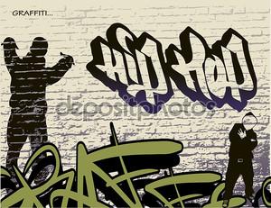 Graffiti wall and hip hop person