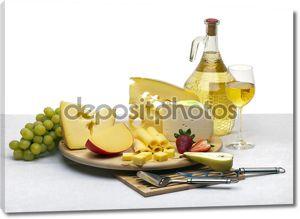 сыр Натюрморт на деревянный поднос круглый