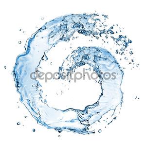 Круглые воды всплеск, изолированные на белом