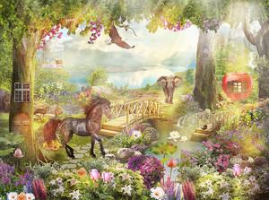 Слон и конь в сказочном лесу