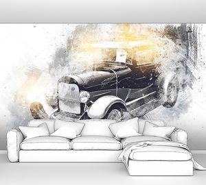 Автомобиль ретро-винтажный рисунок